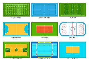 Football game field vector set