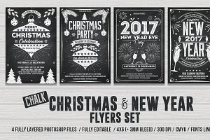 Christmas & New Year Chalk Flyer Set