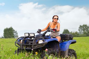 Woman ride ATV