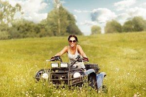 Woman ride ATV