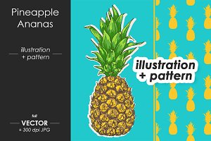 Pineapple illustration + Pattern
