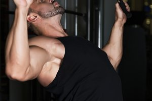 Muscle Man healthy workout exercise in gym