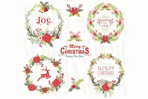 Floral Christmas Wreath Elements