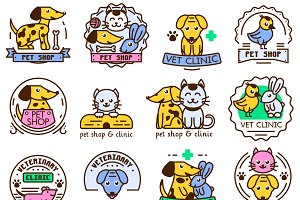 Logotype elements for pet shop
