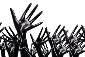 many black artificial hands