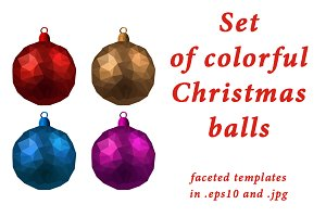 Colorful Christmas balls templates