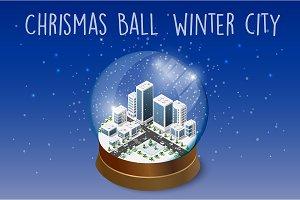 Chrismas ball winter city