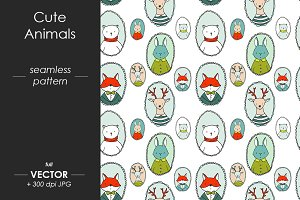Cute vector animals pattern
