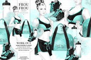 Fitness Yoga Sport Girl Clip Art