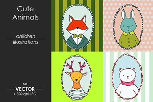 Cute vector animals portraits