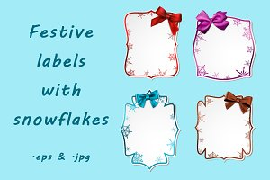 Labels with snowflakes and bows