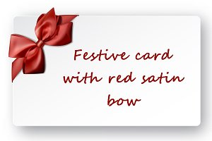 Festive card with red satin bow