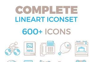 Complete 2 color outline icon bundle