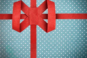 Red paper ribbon with bow
