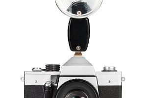 Vintage film camera isolated