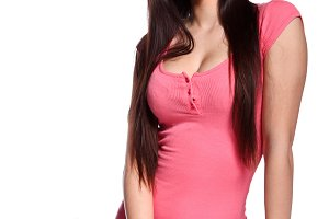 college girl in pink blouse standing