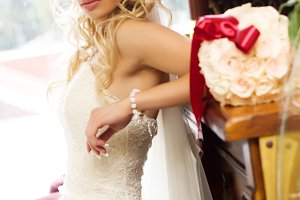 bride in white dress and cute face
