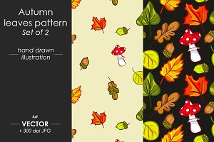 Autumn leaves pattern, set of 2