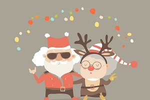Grandparents as Santa and reindeer