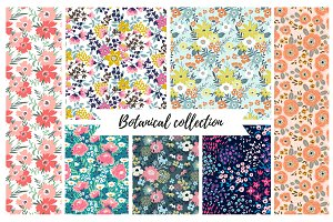 Vector seamless botanical collection