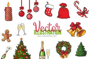 15 Christmas items Illustration