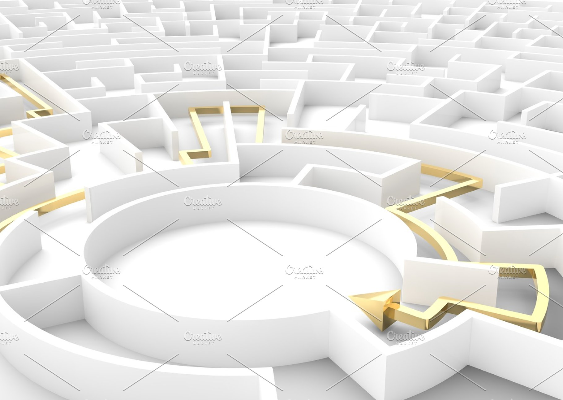Gold arrow going through maze showing a solution  Business strategy  concepts