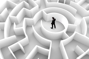 Businessman in the middle of the maze. Challenge concepts