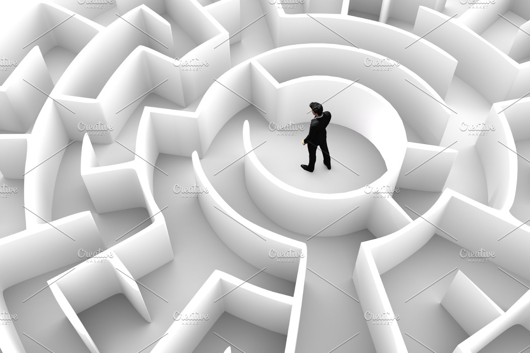 Businessman in the middle of the maze  Challenge concepts