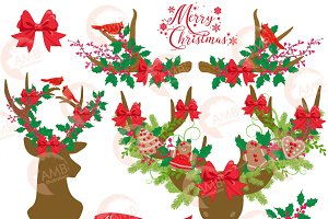 Rustic Deer Christmas Clipart, 1506