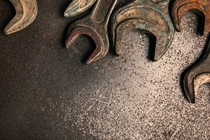 Old rusty wrenches