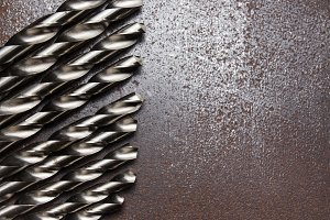 Twist drill bits on metal table