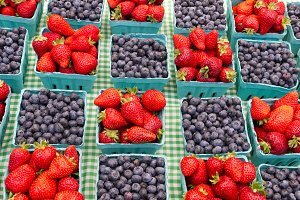 Baskets of strawberries blueberries