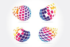 Stylized Globe with pixels in motion