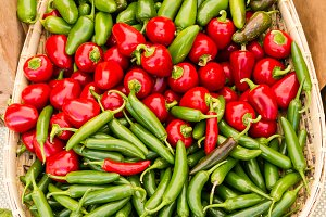 Basket of peppers at the market