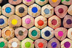 Macro photo of color pencils
