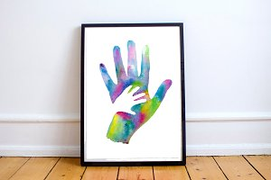 Hand in Hand  Watercolor Clip art