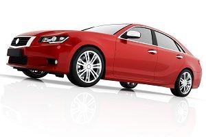 Modern red metallic sedan car in spotlight. Generic desing, brandless.
