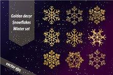 Golden snowflakes set