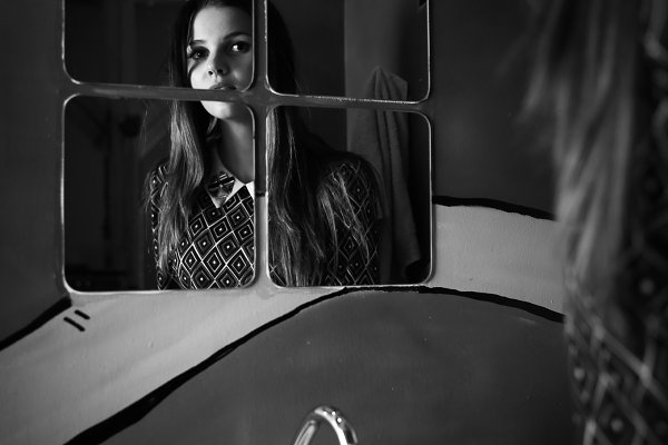 Black and white photo of a woman re…