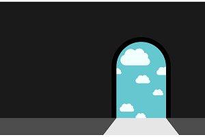 Darkness, door and heaven