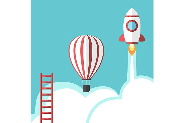 Ladder, balloon and rocket