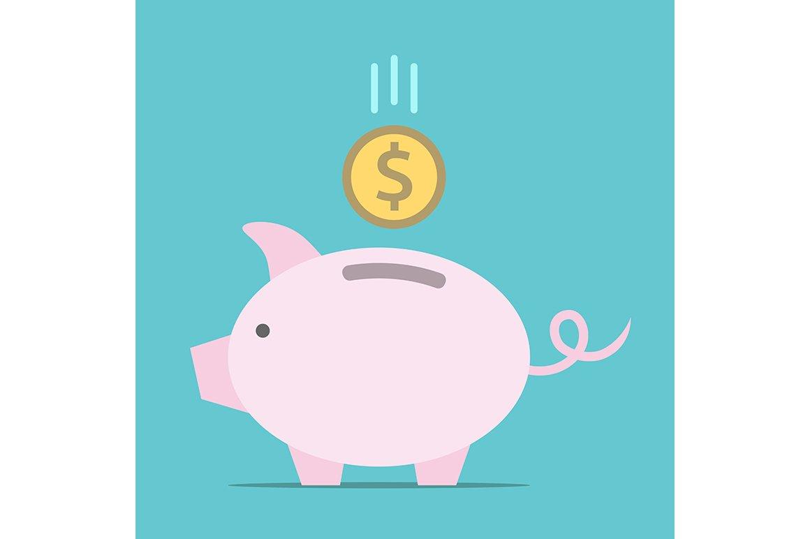 Piggy Bank Dollar Coin Illustrations Creative Market