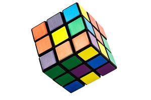 Six color cube puzzle isolated