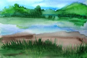 Watercolor landscape with lake