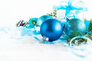 Blue christmas balls and decorations