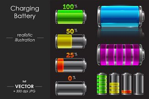 Charging Battery vector design, set
