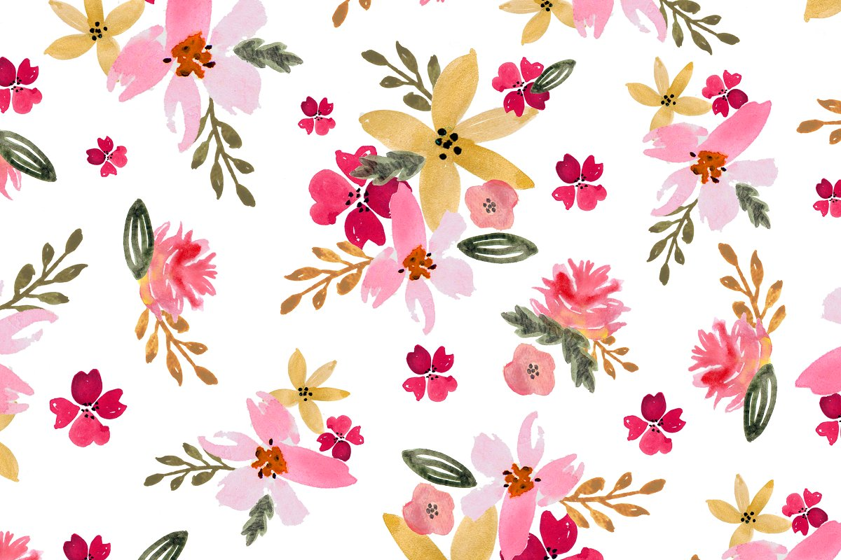 Watercolor Floral Seamless Pattern Custom Designed Graphic