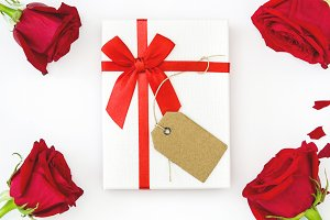 White gift box and roses
