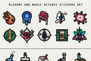 Alchemy and magic icons set.