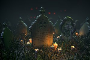Scanned Tombstones & Haloween Scene